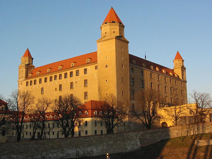An imposing castle towers above Bratislava, the Slovakian capital.