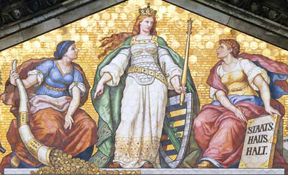 Detailed view of the tiled image underneath the gables of the ministerial building: Fortuna (l.) empties her cornucopia for Saxonia, the content of which is needed for the state budget.