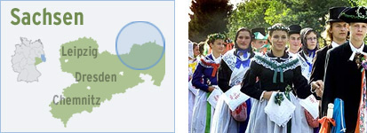The settlement area of the Sorbs (left) and pupils at the Sorb grammar school in Bautzen illustrating a wedding parade (right)